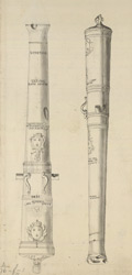 Sketch of brass canon inscribed Louis Charles de Bourbon, bought from France for the use of the Rebels & left at Stirling